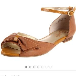 ANTHRO | SEYCHELLES PANSY WHISKEY BOW FLATS LEATHE